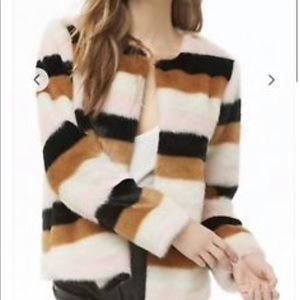 Forever 21 Faux Fur Multicolor Striped Jacket
